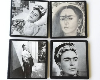 Frida ceramic coasters, Mexican folk art, art lovers gifts, wedding gifts, house warming  gifts, birthday gifts, gifts for her, Frida quotes