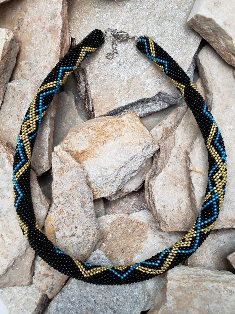 Black Gold and blue geometric beaded crochet rope Necklace Simply and Elegant crochet Necklace Lines