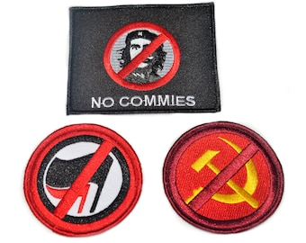Anti-Communist/Marxist/Antifa Embroidered Patch Set.