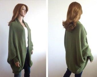 Coat green cardigan Jacket Handmade Batwing Cardigan Knit loose clothes  wrap olive Boho Cocoon coat jacket knit loose cardigan 7f0461187