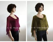 Purple green short poncho Wool knit care purple sweater Hand knitted poncho, Knitted jumper, Women Poncho, Mohair yarn