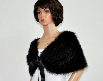 Faux fur cover up black Capelet shawl velvet wrap Bridal Satin ribbon wrap bolero accessories clothes for a party shawl cape Women