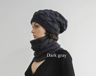 Hat and snood Scarf Set Baggy Hat Charcoal slouchy beanie Hipster Slouchy beanie hat Winter winter knit Accessories christmas gifts