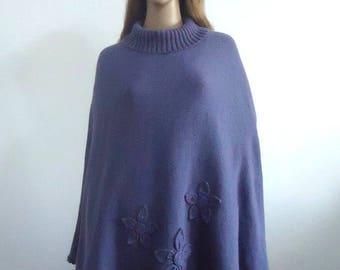 Poncho lavander sweater modern knitwear Hand knitted poncho jumper Gift 100% handmade Women cape