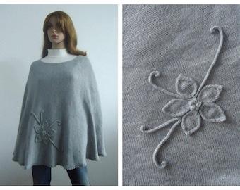 Poncho gray sweater grey wool modern knitwear Hand knitted poncho jumper Gift 100% handmade Women cape
