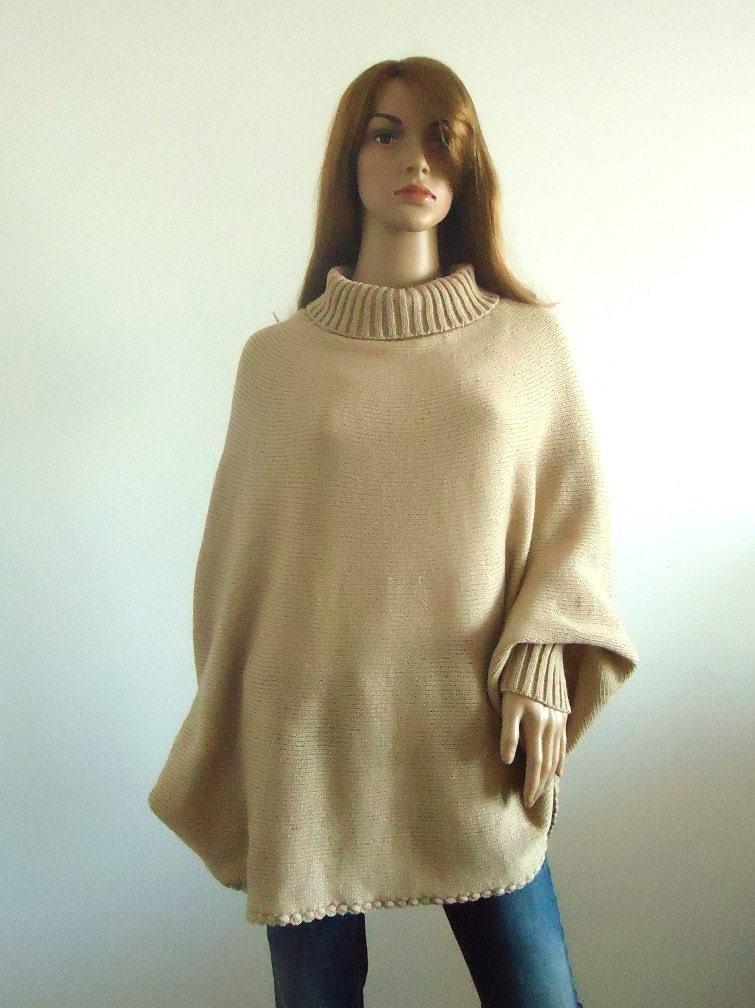 Elegant warm poncho turtleneck sweater Loose fit beige Loose