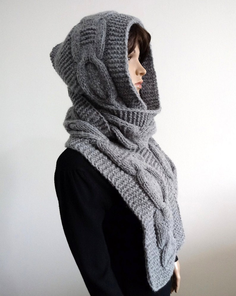 8dae2ab9dacc3c Hooded gray Scarf Winter Hat Hooded Oversized Chunky Grey Long Scarf Hood  Cable... Hooded gray Scarf Winter Hat Hooded Oversized Chunky Grey Long  Scarf Hood ...