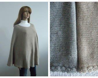 Poncho beige gray sweater grey wool modern knitwear brown Hand knitted poncho jumper Gift 100% handmade Women cape