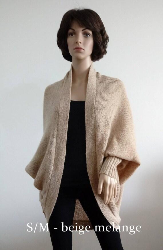 Coat  White Cardigan Batwing with long sleeves Cozy Knitting loose oversized shrug for women Boho Sweater Cocoon coat wrap jacket Wool