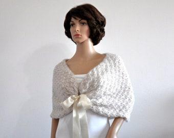 Wedding White Shawl Bridal Ivory Cape Bridal Shawl Wedding Shrug Rustic Wedding Wrap Bridal Cover Up