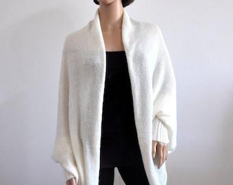 Cardigan white Batwing  long sleeves Cozy Knit loose plus size oversized shrug for women Boho Sweater Cocoon coat wrap jacket Wool