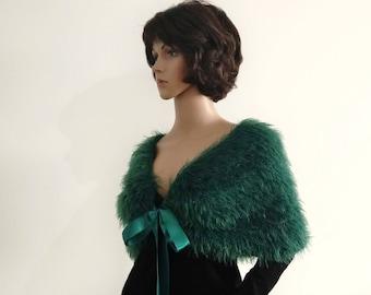 Faux fur cover up green Capelet shawl velvet wrap Bridal Satin ribbon wrap bolero accessories clothes for a party shawl cape Women