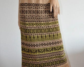 Knit wool Skirt jacquard Biege light brown Handmade  hand knitted Ready to Ship Folk Clothing Fair Isle