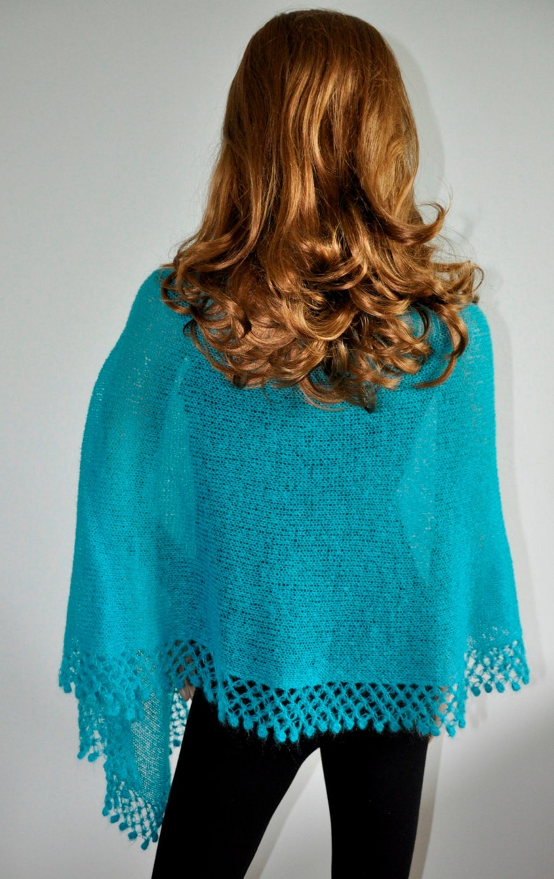 Handmade Women Poncho turquoise poncho Mohair yarn Poncho sweater Ready to Ship Hand knitted poncho Knit poncho Knitted jumper