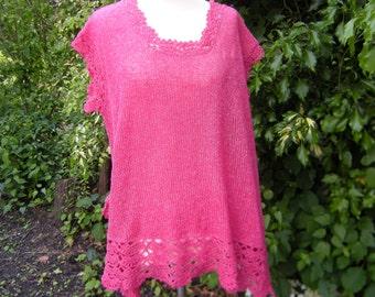 Tunic shirt Layered Look layering knit tunic with crochet border, Gr. 44-46