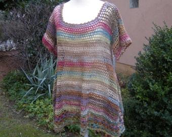 Crochet shirt tunic, size 42-46