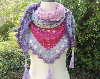 Triangle cloth, stole, triangle scarf, crochet cloth, gradient, tassels, pink, pink, grey, lilac, violet