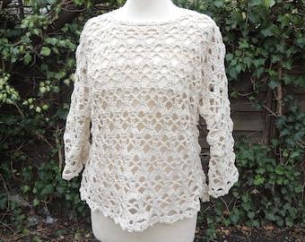 Crochet sweater, shirt, crochet, natural size 38/40
