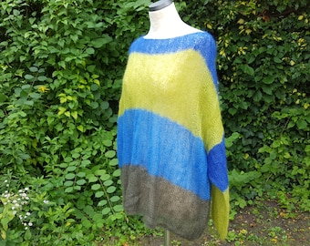 Oversize mohair sweater, sweater, knitted sweater, stripes, moss green, steel blue, green, royal, one size L-XL size 38-42