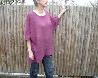 Oversized-sweater/shirt, knitted, fuchsia, Gr. 40-46