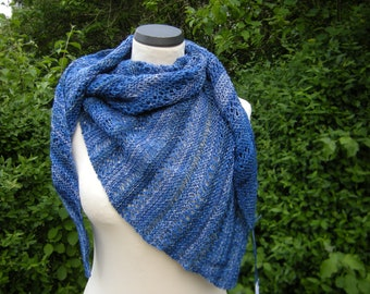 Shawl, triangle, hand knit, triangle cloth, hole pattern, blue