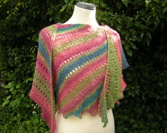 Knitted scarf, Handmade, stole, scarf slant, red-green-petrol