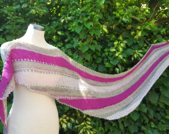 Scarf, stripes, wrap, stole, semicircular scarf, crescent scarf, pink, pink, light green
