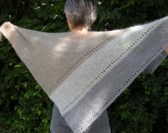 Shawl Triangle hand knit scarf kid mohair silk beige white light grey