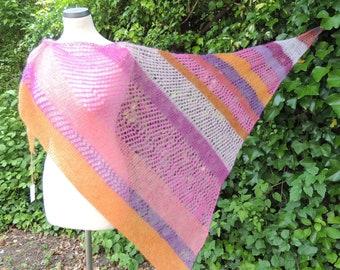 Triangle towel stripes, scarf, triangle, hand knit, kidmohair silk, pink, pink, salmon, fuchsia, orange, purple, rust. Purple