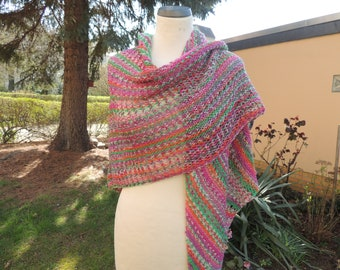Triangle cloth, scarf, knitted scarf, triangle shawl, wrap, hole pattern and ribs, pink, green, colorful
