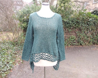 tunic, top, shirt, sweater, VoKuHiLa, size 40-42 bottle green, knitted, crocheted