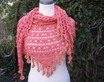 Triangle shawl, stole, scarf, wrap, triangle cloth coral
