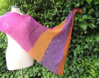 Triangle towel stripes, scarf, triangle, hand knit, kidmohair silk, fuchsia, orange, rust. Purple