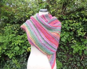 "Color scarf ""Parallelogram"", stole, wrap, colorful"