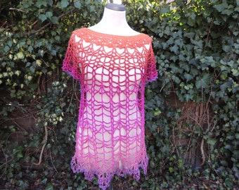 Crochet shirt, shirt, beach dress, crochet, pink-orabge size 36-40