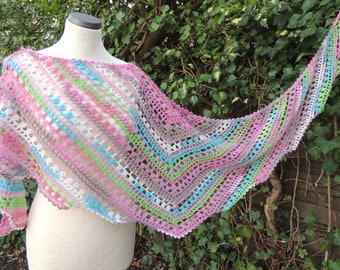 """Crochet scarf """"Jagged"""", Shawl, Crochet, Stole, Wrap, Scarf, pink, turquoise, colorful"""