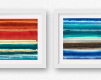 Ocean Teal, SET of TWO Color + Rain art prints, limited edtion giclees, abstract wall art, modern art print, coastal art
