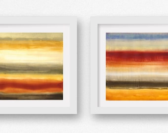 Sunset Orange, SET of TWO Color + Rain art prints,  limited edtion giclees, abstract wall art, modern art print, coastal