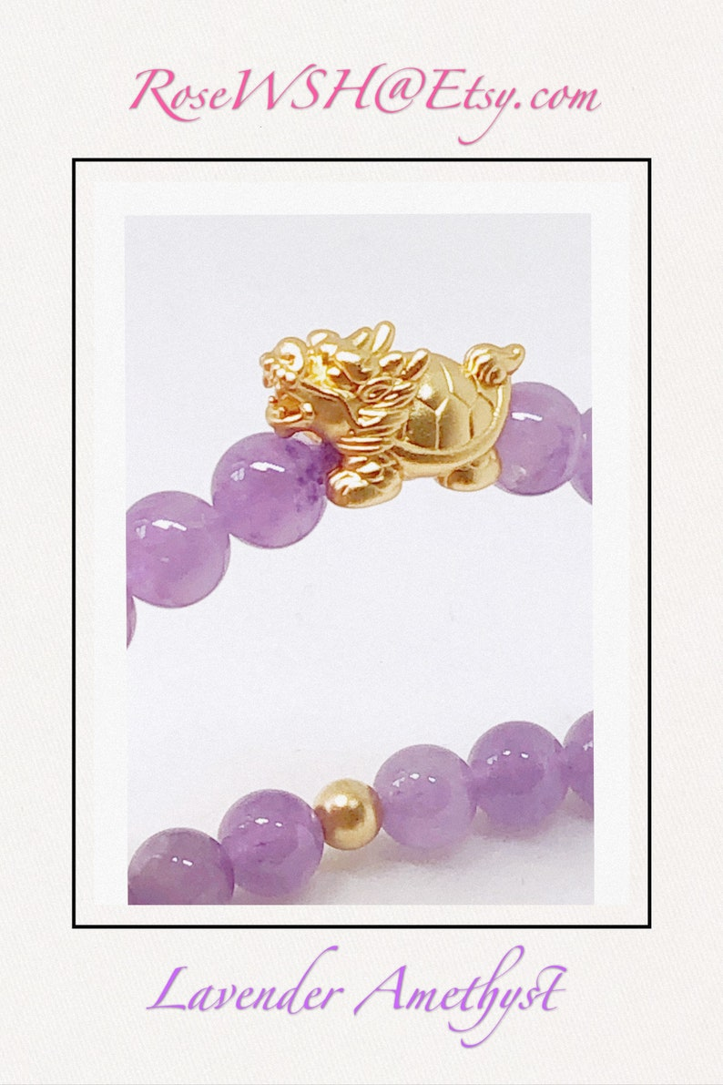 Dragon Tortoise Centrepiece with Lavender Purple Amethyst and 14k matte gold spacers Promotes healing and good naturedness