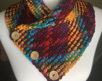 Crochet cowl shawl scarf thick and chunky argyle pattern yellow blue red green purple with buttons