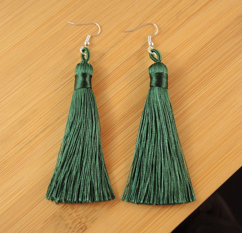 Dark Green Tassel Silk Polyester Fringe Bohemian Statement Dangle Fashion Earrings with Silver Hypo-Allergenic Hooks #2187