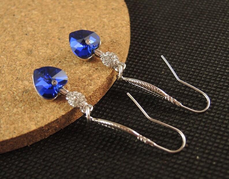 Dark Blue Glass Heart Pair of Dangle Drop Statement Earrings with Platinum Plated Loop Leaf Hooks #830