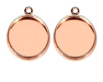 20pcs 10-25mm Rose Gold bezel Pendant trays , setting Jewelry findings
