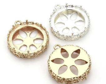 5pcs 25mm Alloy Pendant Trays Blanks Bezel Setting,setting Jewelry findings