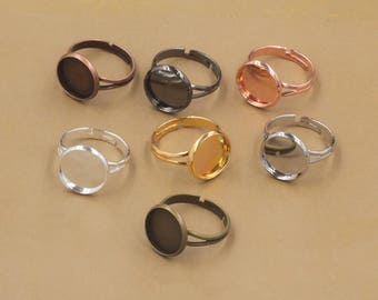 50pcs 12mm Ring Blanks Ring Bezels Cabochon Settings Fits 12mm