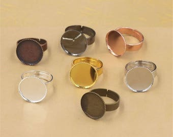 20pcs 12-30mm Ring Blanks Ring Bezels Cabochon Settings Fits 12-30mm