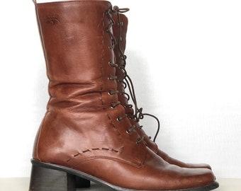 ba6d3fabd0fc6 PIKOLINOS, vintage ankle boots, lacing boots, lace up, leather, cognac brown,  woman, size 39 EU, Spain.