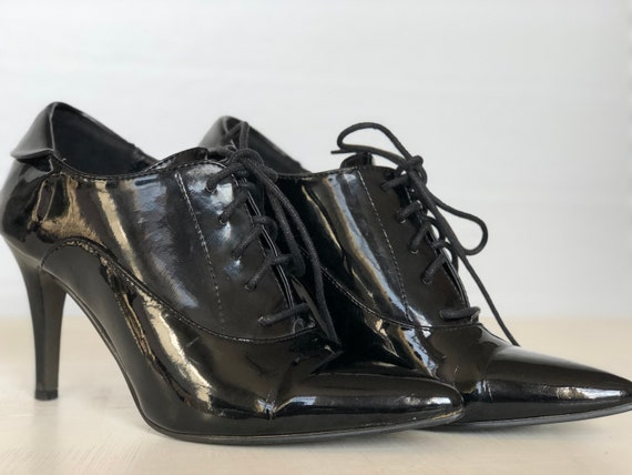 SHICK, vintage 80s patenting stiletto ankle boots