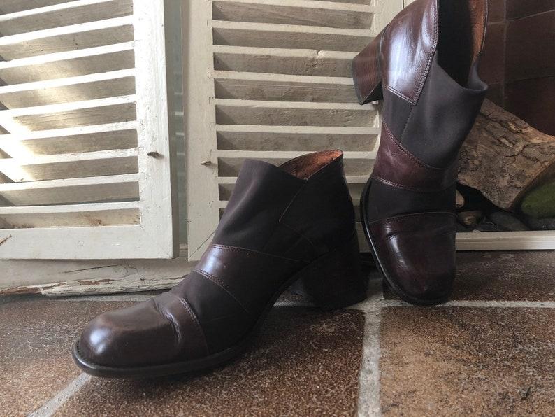 dcd2b0ca1902d VIA VAI Vintage Ladies ankle boots, brown leather, stretch, Blokhak, size  42 EU, Italy