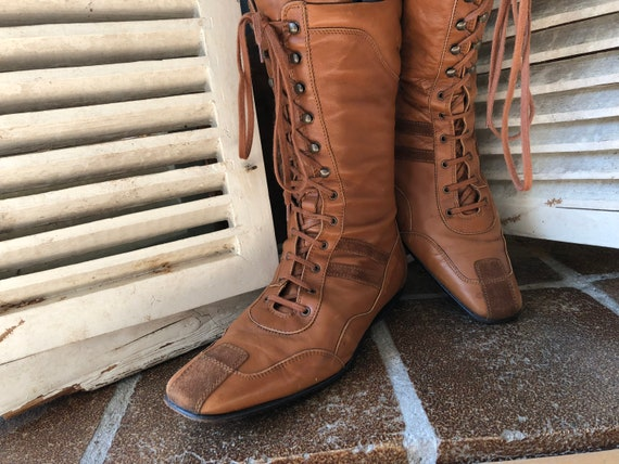 cognac Attilio Italy 100 sporty up women's Leombruni brown AGL boots Guisti leather lace lace boots up qU4w0x4aS